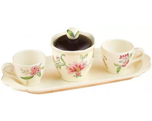 Набор для чая на 2 персоны Прованс Nuova Ceramica s.n.c. 2 чашки и сахарница на подносе 41см