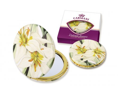 Зеркало карманное Белая лилия Carmani