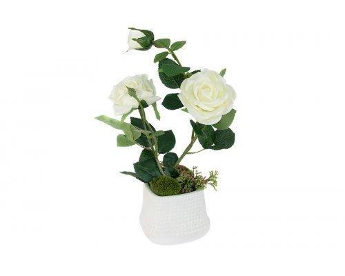 Декоративные цветы Dream Garden Розы белые в керамической вазе