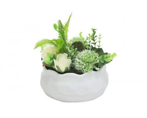 Декоративные цветы Dream Garden Гортензия зеленая и розы в керамической вазе
