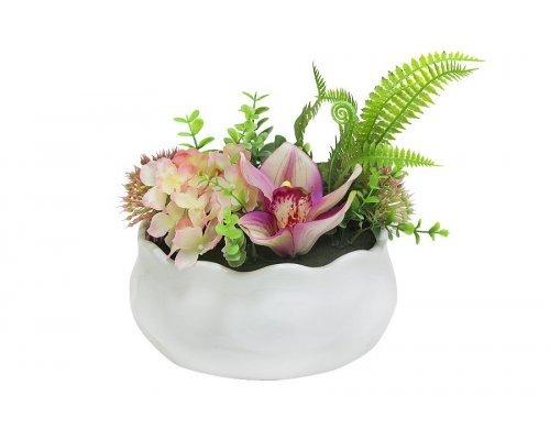 Декоративные цветы Dream Garden Гортензия розовая и орхидея в керамической вазе