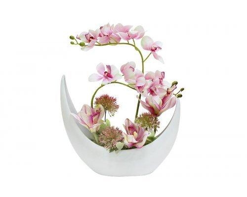 Декоративные цветы Dream Garden Орхидея розовая в керамической вазе