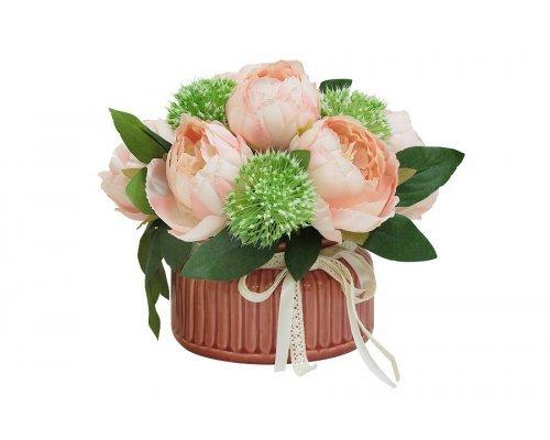 Декоративные цветы Dream Garden Розы розовые в керамической вазе