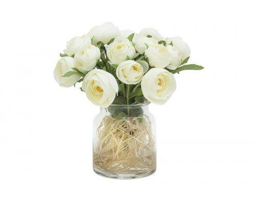 Декоративные цветы Dream Garden Купальницы белые в стеклянной вазе
