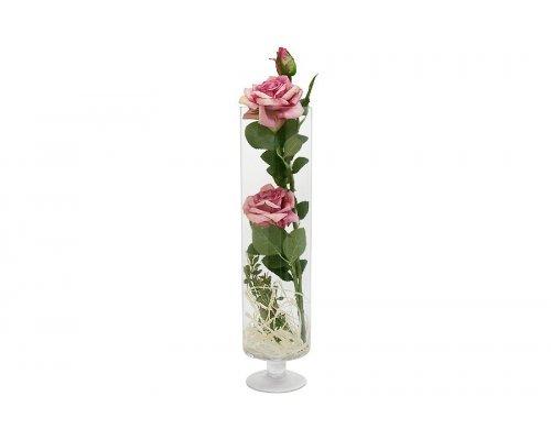 Декоративные цветы Dream Garden Роза бордово-жёлтая в стеклянной вазе