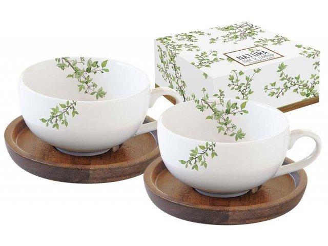 Набор из 2-х чашек для кофе с крышками/подставками из акации Натура Easy Life (R2S) в подарочной упаковке
