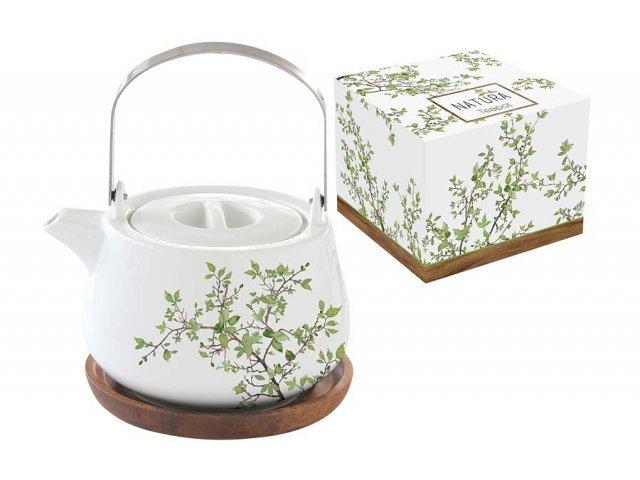 Чайник на подставке из акации Натура Easy Life (R2S) в подарочной упаковке