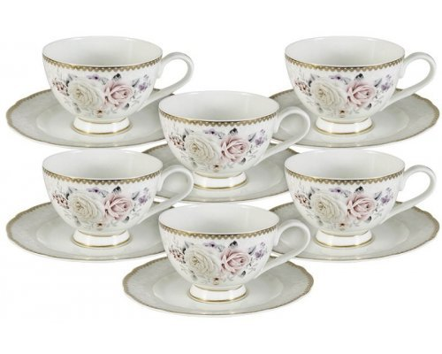 Набор посуды для чая 12 предметов Гармония Emily: 6 чашек + 6 блюдец