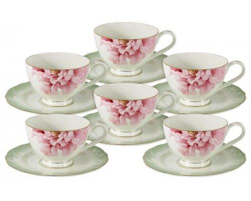 Набор посуды для чая 12 предметов Emily Заря: 6 чашек + 6 блюдец