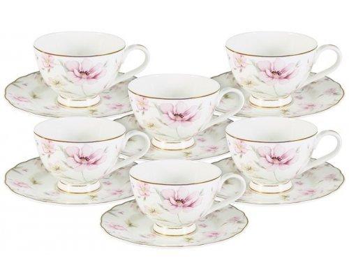 Набор для чая 12 предметов Розовый танец Emily: 6 чашек + 6 блюдец
