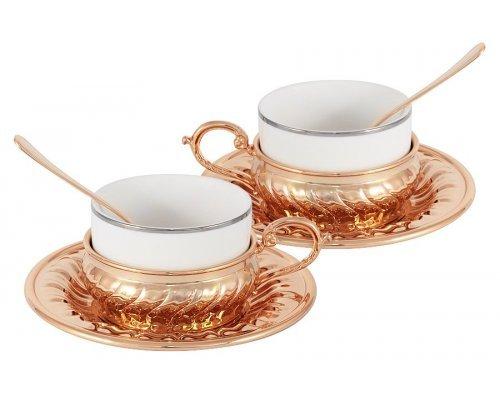 Чайный набор на 2 персоны Gamma Stradivari с отделкой под розовое золото в подарочной коробке