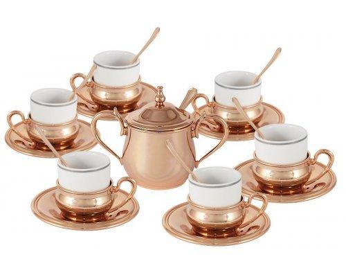 Кофейный набор на 6 персон Экстра-люкс Gamma с отделкой под розовое золото
