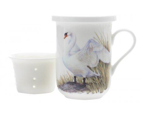 Кружка Maxwell & Williams с ситечком и крышкой Лебеди в подарочной упаковке