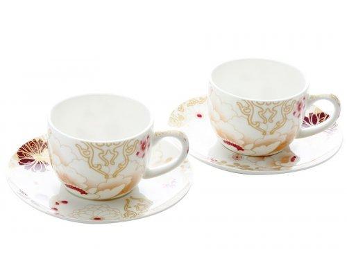 Набор: 2 чашки с блюдцами Maxwell & Williams Кимоно (белый) в подарочной упаковке