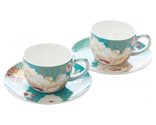 Набор: 2 чашки с блюдцами Maxwell & Williams Кимоно (бирюза) в подарочной упаковке