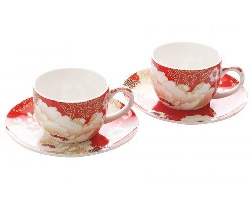Набор: 2 чашки с блюдцами Maxwell & Williams Кимоно (красный) в подарочной упаковке