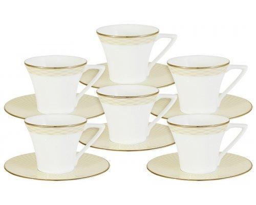Кофейный набор Бриз Голд Narumi: 6 чашек + 6 блюдец