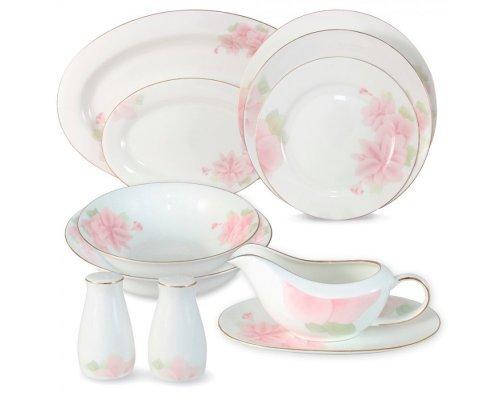 Обеденный сервиз Розовые цветы Emily 27 предметов на 6 персон
