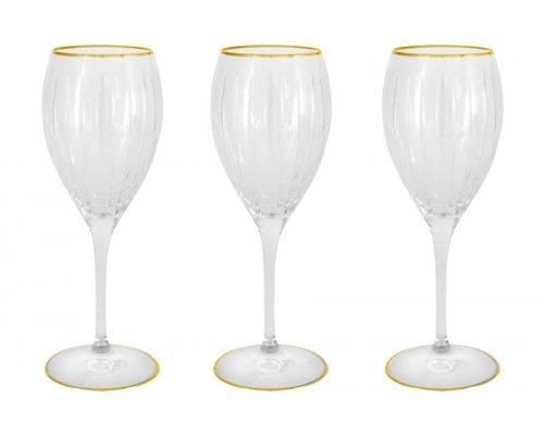 Набор: 6 хрустальных бокалов для вина Пиза золото Same