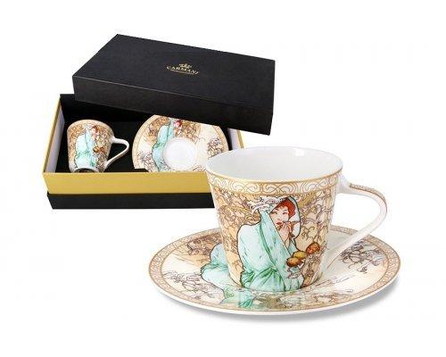 Чашка с блюдцем Carmani Зима (А. Муха) в подарочной упаковке
