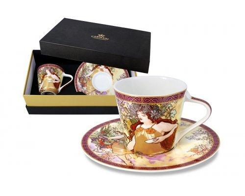 Чашка с блюдцем Carmani Осень (А. Муха) в подарочной упаковке