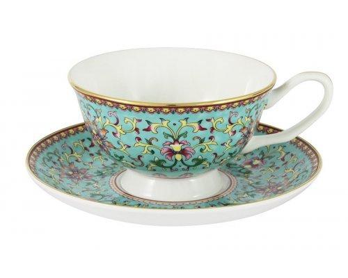 Чашка с блюдцем (бирюзовая) Восточный дворец Stechcol в подарочной упаковке