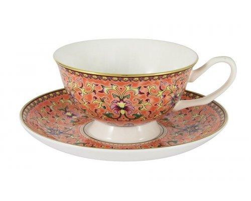 Чашка с блюдцем (оранжевая) Восточный дворец Stechcol в подарочной упаковке