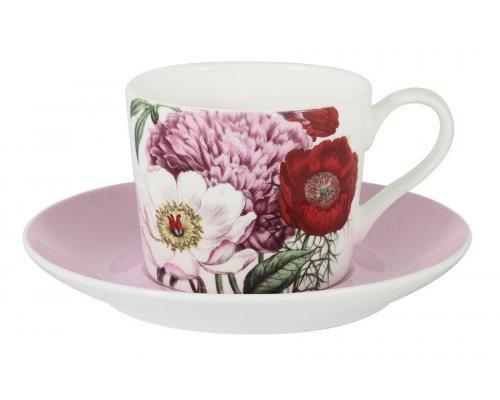 Чашка с блюдцем (розовая) Лаура Stechcol в подарочной упаковке