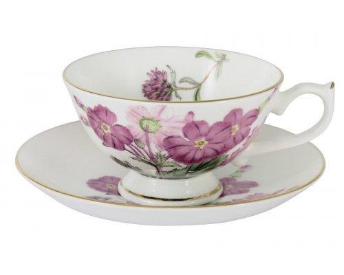 Чашка с блюдцем (розовые цветы) Лаура Stechcol в подарочной упаковке