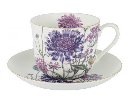Чашка с блюдцем (сиреневые цветы) Лаура Stechcol в подарочной упаковке