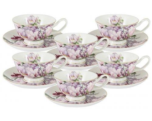 Набор для чая: 6 чашек + 6 блюдец Райский сад Stechcol в подарочной упаковке