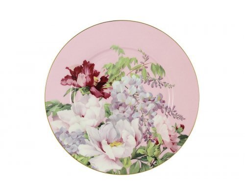 Тарелка десертная (розовая) Райский сад Stechcol в подарочной упаковке
