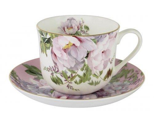 Чашка с блюдцем (розовая) Райский сад Stechcol в подарочной упаковке