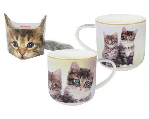 Кружка Carmani Два котёнка в подарочной упаковке + брелок-хвостик