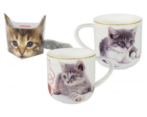 Кружка Carmani Котёнок с клубком в подарочной упаковке + брелок-хвостик