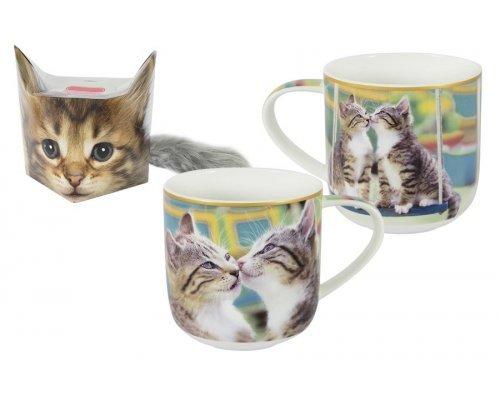 Кружка Carmani Целующиеся котята в подарочной упаковке + брелок-хвостик