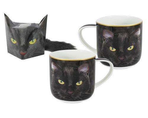 Кружка Carmani Чёрный кот в подарочной упаковке + брелок-хвостик
