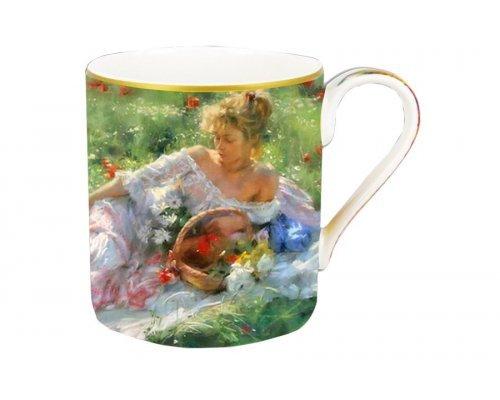 Кружка Carmani Девушка с корзиной цветов в подарочной упаковке