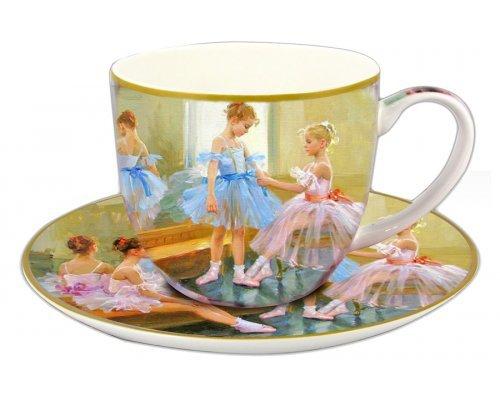 Чашка с блюдцем Carmani Балерины у зеркала в подарочной упаковке