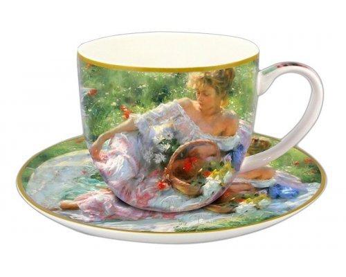 Чашка с блюдцем Carmani Девушка с корзиной цветов в подарочной упаковке