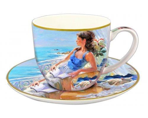 Чашка с блюдцем Carmani У моря в подарочной упаковке