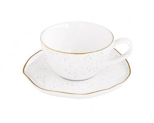 Чашка для кофе с блюдцем Easy Life (R2S) Artesanal (белая) без индивидуальной упаковки