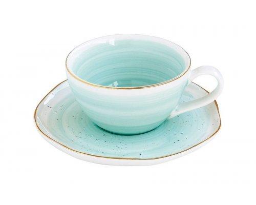 Чашка для кофе с блюдцем Easy Life (R2S) Artesanal (зелено-голубая) без индивидуальной упаковки