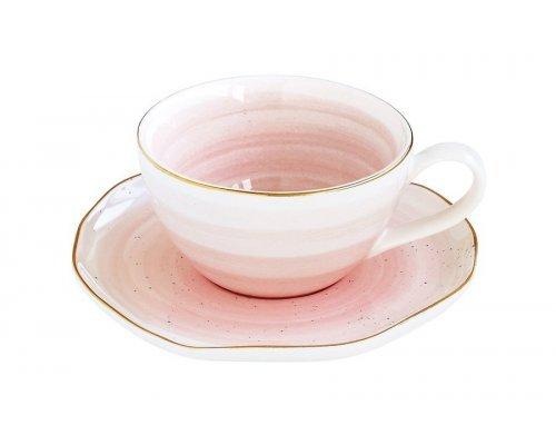 Чашка для кофе с блюдцем Easy Life (R2S) Artesanal (розовая) без индивидуальной упаковки