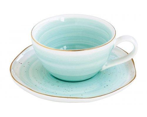 Чашка с блюдцем Easy Life (R2S) Artesanal (зелено-голубая) без индивидуальной упаковки
