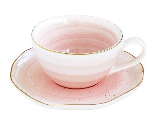 Чашка с блюдцем Easy Life (R2S) Artesanal (розовая) без индивидуальной упаковки