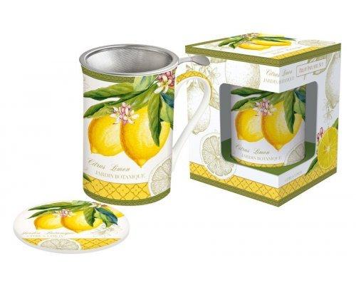 Кружка с металлическим ситечком и крышкой Лимон Easy Life (R2S) в подарочной упаковке