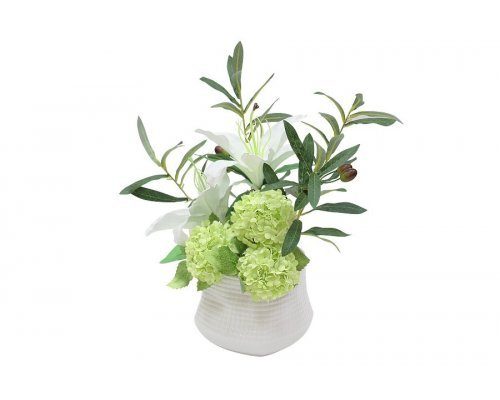 Декоративные цветы Dream Garden Лилии белые и гортензии в керамической вазе