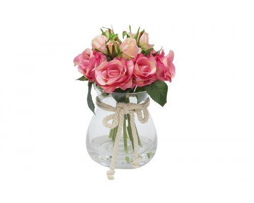 Декоративные цветы Dream Garden Розы тёмно-розовые в стеклянной вазе