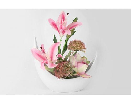 Декоративные цветы Dream Garden Лилии розовые и орхидея в керамической вазе